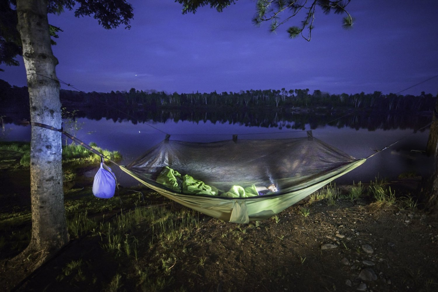 A hammock with rainfly and bug net