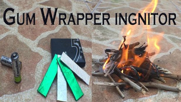 starting a fire with a battery and gum wrapper