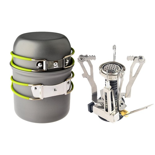 Petforu Camping Propane Canister Stove with Cooking Tool Set